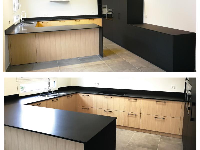 Cuisine Plan de Travail Granit Noir – Façades en Chêne et Phoénix Noir